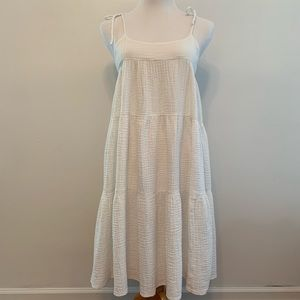 Madewell Tiered Off-White Cotton Sundress XS